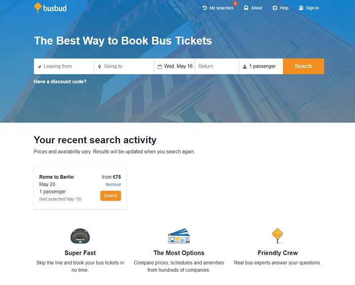 Busbud bus OTA homepage search engine