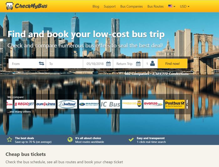 CheckMyBus homepage