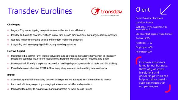 Transdev Eurolines client case study Turnit bus ticket reservation platform