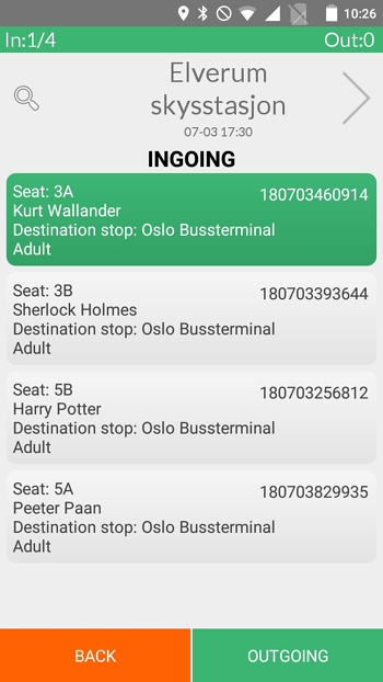 Turnit bus ticket reservation on-board driver application