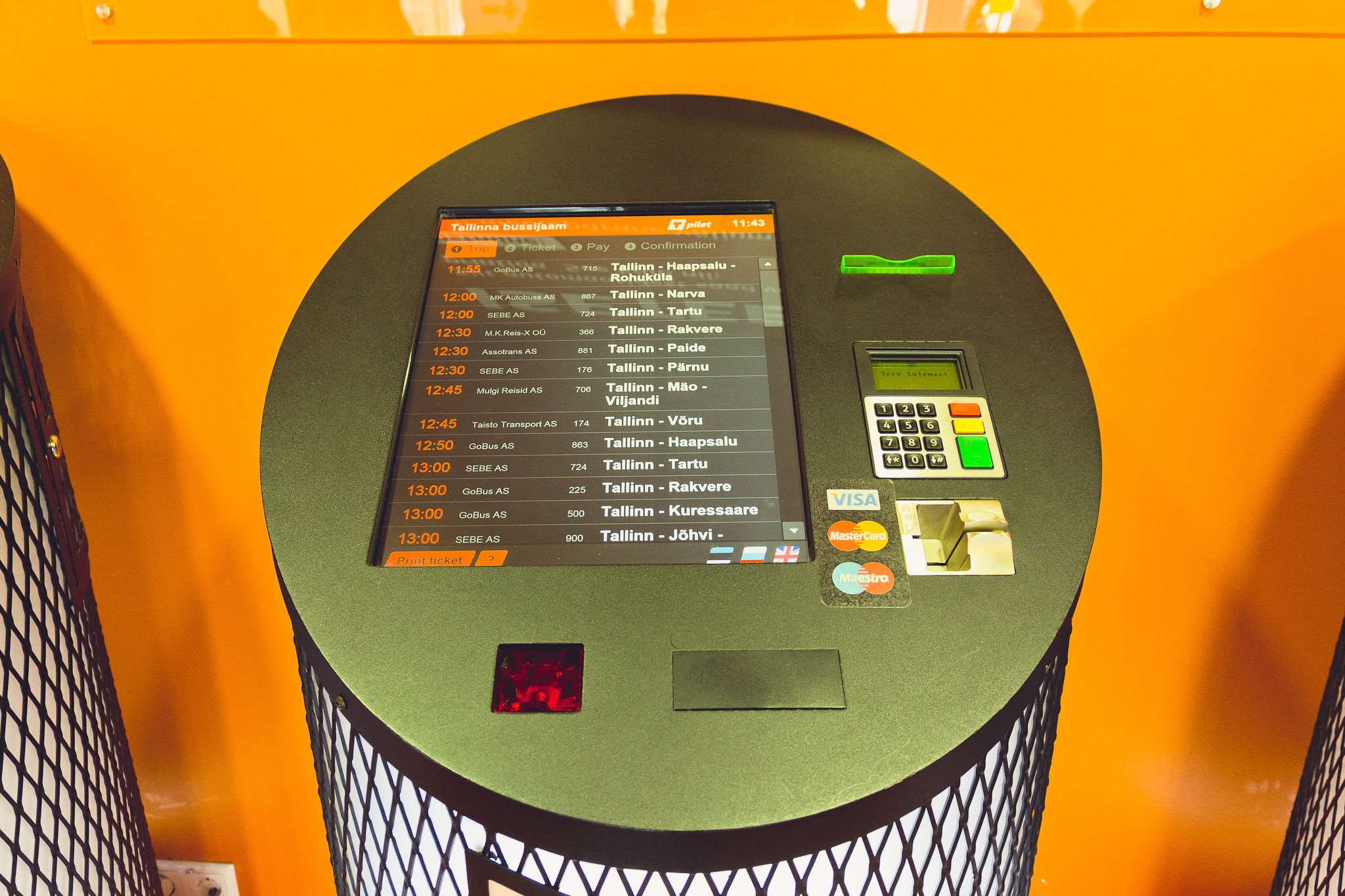 Tallinn bus station Tpilet ticket vending machine